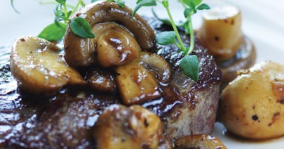 Golden Glow Plated Menu Steak and Potatoes